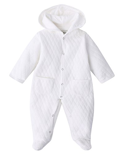 Kidsform Unisex Baby Romper Autumn Bodysuit Pocket Jumpsuit Footies Onesie Hoodie Pajamas White 9-12M