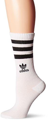 adidas Women's Originals Roller Crew Socks (1-Pack), White/Black, Medium