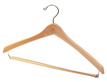 17'' Contoured Suit Hanger with Locking Trouser Bar - Box of 20
