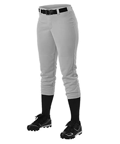 Alleson Ahtletic Womens Fast Pitch Softball Belt Loop Pants, Grey, Small