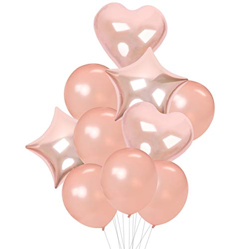 14PCS Rose Gold Balloon Set - 10PCS 12