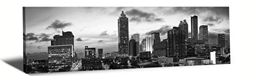 LP LIFE ART-City Wall Art,Black White Cityscape Canvas Print Wall Art,Black White Panoramic Atlanta Skyline Modern Art Work Wall Art Bedroom Art Home Decorations Office Decor Ready to Hang 14x48