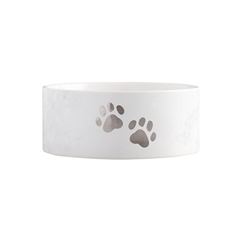 - Pearhead Pet Bowl, Ceramic Pet Food or Water Bowl, Perfect for Dogs or Cats, Paw Prints