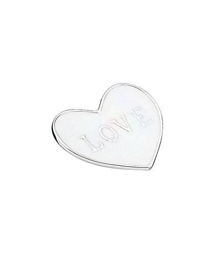 PANDORA Love Heart Plate, Medium, Silver Enamel Locket Charm 792119EN23