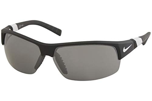 Nike Golf Show X2 Sunglasses, Matte Black/White Frame, Grey with Silver Flash/Outdoor Tint Lens