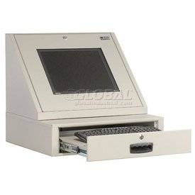 Locking Keyboard Drawer - LCD Console Counter Top Security Computer Cabinet, Gray, 24-1/2