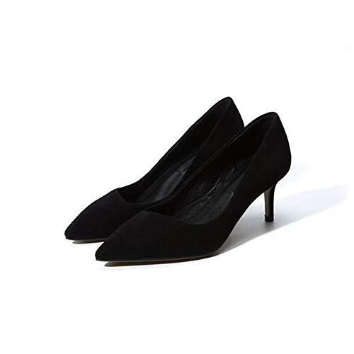 Heel Pink Zapatos ZHZNVX Black Stiletto Suede Mujer Pink Comfort Heels de Brown Spring P1wq4S