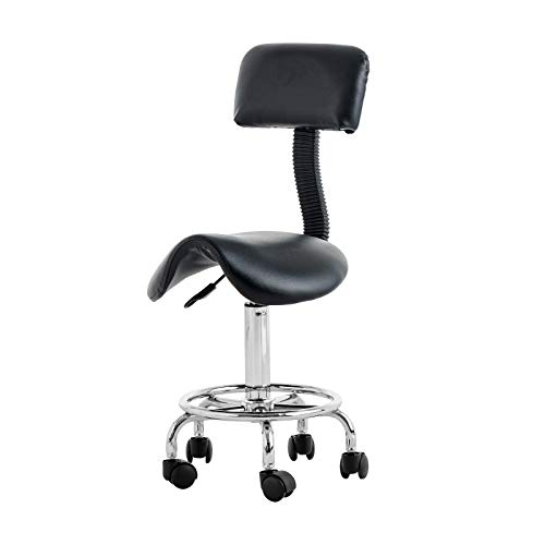 NURXIOVO Saddle Salon Stool Adjustable Massage Chair 360 Degrees Swivel for Beauty Tattoo Facial Spa Office Clinic with Backrest and Rolling Casters Black