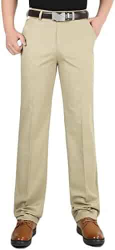 45bbf3cc175 Etecredpow Men Classic Fit Pocket Cotton High Rise Straight Baggy Business  Pants