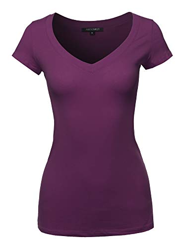 Solid L/s Tee - Solid V-Neck Short Sleeves Everyday Top (S-3XL) Purple L