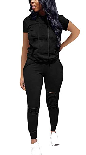 LKOUS Womens Summer 2 Pieces Outfits Short Sleeve Ripped Hooded Sweatshirt Shirt Tops and Bodycon Long Pants Tracksuit Set