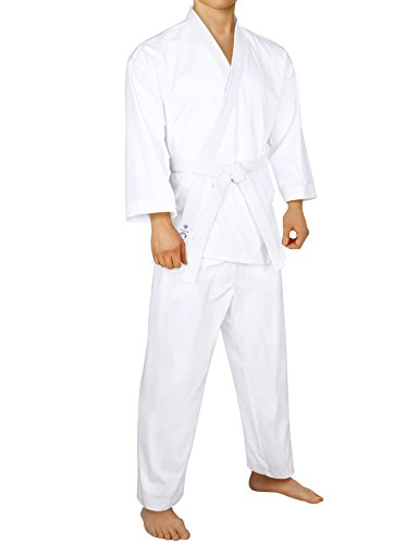 FitsT4 Karate Gi/Uniform with Elastic & Drawstring Waistband Pants Included Belt for Adult & Children White,4