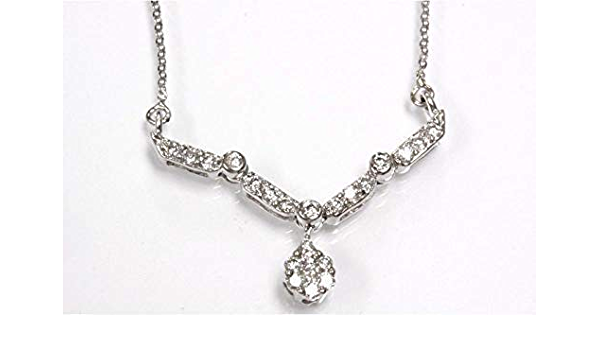 Natural Diamond Cluster Pendant Solid 14kt White Gold