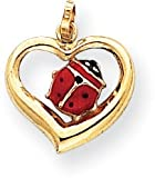 Enamel Ladybug in Heart Charm, 14K Yellow Gold
