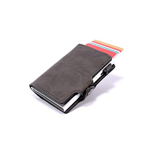 Credit Card Holder Vintage Pu Leather Card Wallets Rfid Blocking Protector Single Box Id,Gray Cz31 (Pay Off Credit Card Debt Fast Calculator)