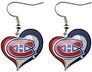 NHL unisex Nhl Swirl Heart Earrings