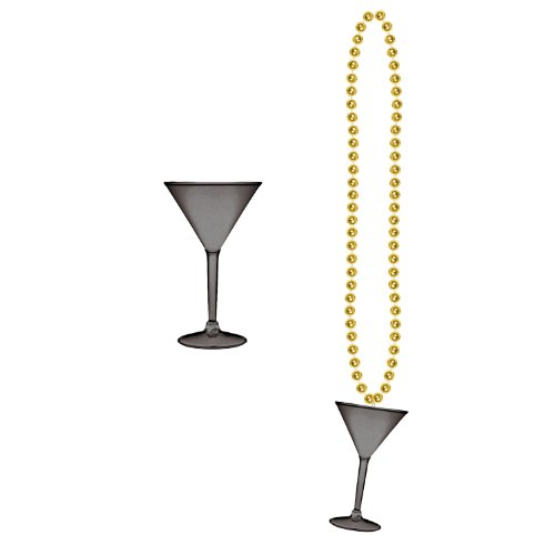 [Beads w/Martini Glass (black & gold) Party Accessory  (1 count) (1/Card)] (Martini Costume Halloween)
