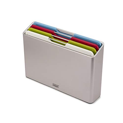 Joseph Joseph Folio Plastic Cutting Board Set with Storage Case Color-Coded Easy-Access Design Dishwasher Safer Non-Slip, Small, Silver