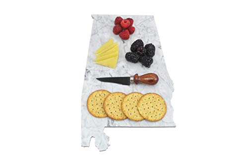 Custom Alabama Marble Cutting Board, Serving Tray, or Cheese Board- Personalized with Laser - Tide Alabama Crimson Natural