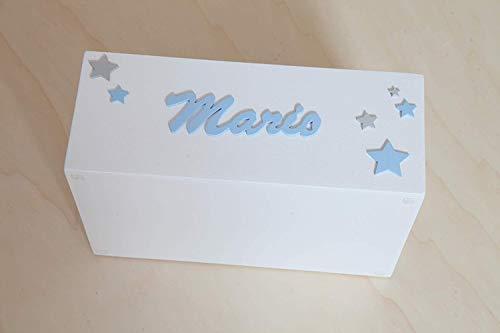Caja madera con nombre personalizada para pañales, juguetes o ...