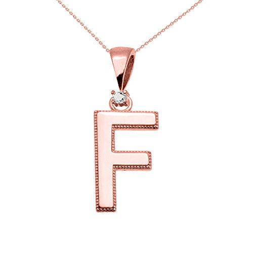 """Collier Femme Pendentif 10 Ct Or Rose Poli Élevé Milgrain Solitaire Diamant """"F"""" Initiale (Livré avec une 45cm Chaîne)"""