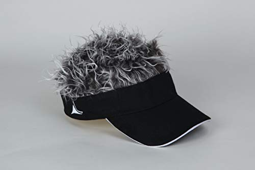 Billy Bob Fun Hair Visor Black with Grey ()