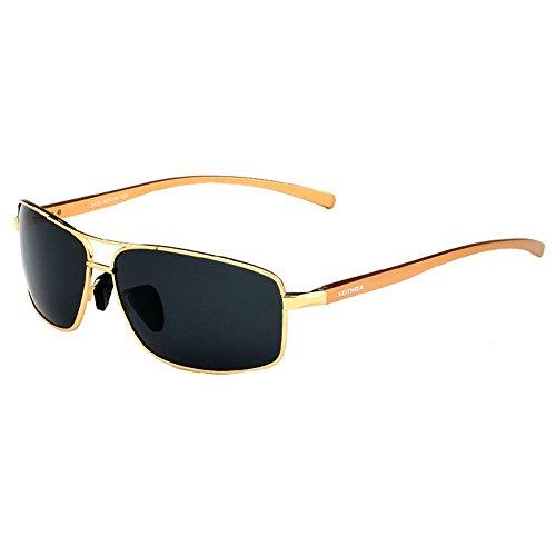 Gold 2015 Aluminium Mnes Polarized Sunglasses Outdoor Driving Aviator - Aluminium Clubmaster