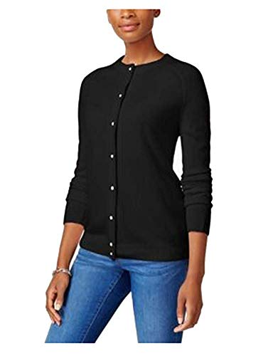 (Karen Scott Luxsoft Crew-Neck Cardigan (Black, XL))