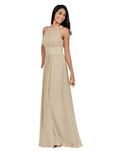 Alicepub Chiffon Bridesmaid Dresses Long for Women Formal Evening Party Prom Gown Halter, Champagne, US10