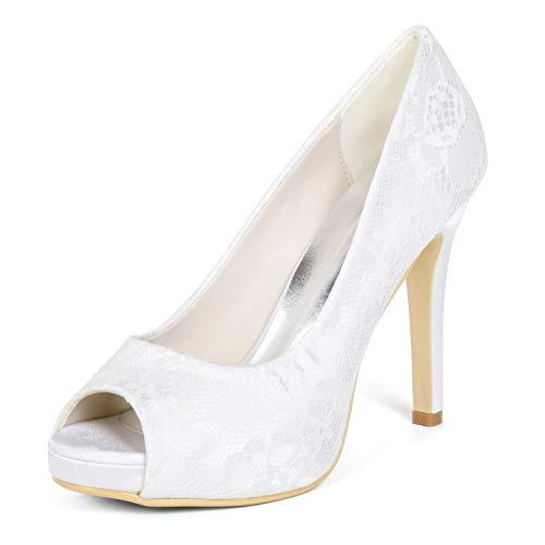 De Flor Para 42 35 Mujer Zapatos Tacones yc L Medio Plataforma Tamaño White Boda vestido Marfil Cintas Altos 8EqHgUwx