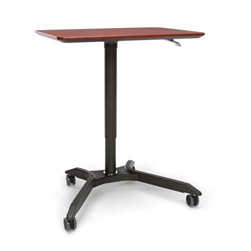 OFM Mesa Series Mobile Standing Desk - Height Adjustable Laptop Table, Workstation, Cherry/Gray (66100-CHY)