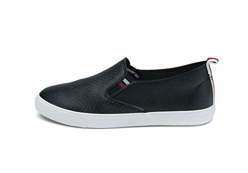 SHFANG Señora Zapatos Simple Pu Aumento Movimiento De Ocio Estudiantes Escuela Compras Diarias Negro Blanco Black