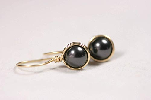 Gold Black Pearl Earrings Black Swarovski Pearl Drop Earrings Yellow or Rose Gold Wire Wrapped