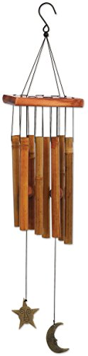 (Sunset Vista Designs 92697 Moon and Star Metal and Wood Wind Chime, Bamboo)
