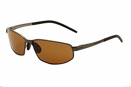Serengeti Granada Sunglasses, Shiny Dark Gunmetal with D Polarized Lens (Racewear Sunglasses)