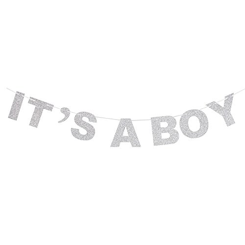 It's A Boy Silver Glitter Theme Bunting Banner For Celebrate Baby Boy Shower Baby Boy Birthday Party Creative Decorations. (Its A Boy Banner)