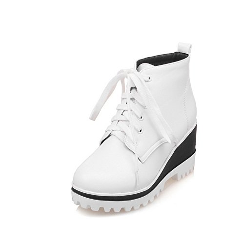 Boots Casual AdeeSu Imitated Solid White Leather Bandage Ladies RwwqYUaZH