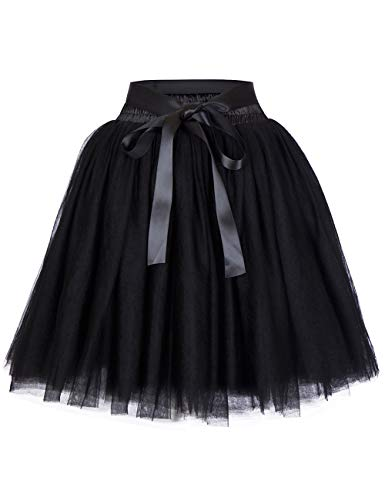 Women's High Waist Princess Tulle Skirt Adult Dance Petticoat A-line Wedding Party Tutu Black -