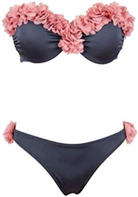 Costumi da Bagno Donna Petalo Tubo Superiore Vita Bassa Bandeau Bendaggio Push-Up Bikini Spiaggia di Sabbia