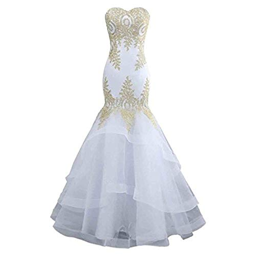 (Bishell-WD Women's Wedding Dress, Women Strapless Sweetheart Embroidery Floral Lace Appliques Bridal Gown Bridesmaid Wedding Dress Lace-up Long Mermaid Formal Evening Prom Dresses Party Ball Gown)
