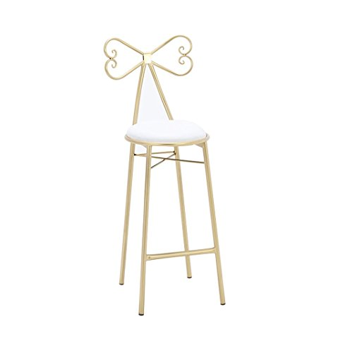 - bar stool Modern Nordic minimalist wrought iron home leisure high chair Gold butterfly back Princess dressing stool Girl photo chair White and pink Three sizes (Color : B, Size : 4040112cm)
