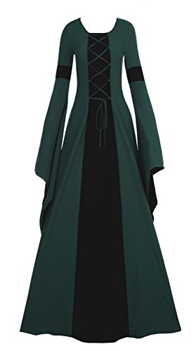 Fashare Womens Medieval Renaissance Costumes Lace Up Floor Length Irish Over Dress (Witch King Cosplay Costume)