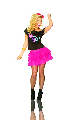 Costume Culture Women's Layered Petticoat Skirt, Hot Pink, Yellow or Green.