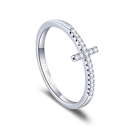 Lancharmed S925 Sterling Silver Cross Ring Dainty Stackable Sideways Rings Fine Jewelry for Women Girls Size 8