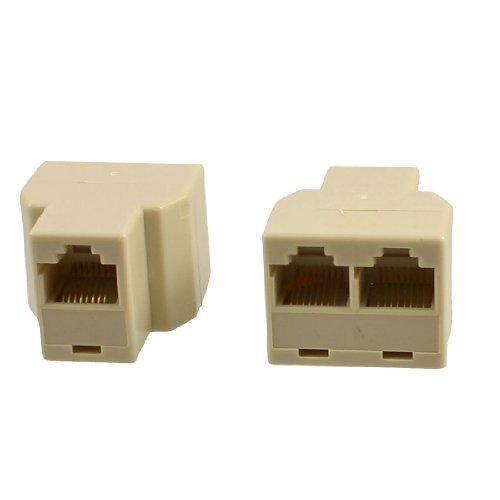Water & Wood 2 Pcs Telephone ADSL Modem RJ45 8P8C Plug Line Splitter Filter White
