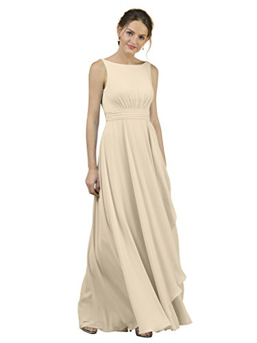 (Alicepub A-Line Chiffon Bridesmaid Dress Long Party Evening Dresses Prom Gown Maxi, Champagne,)