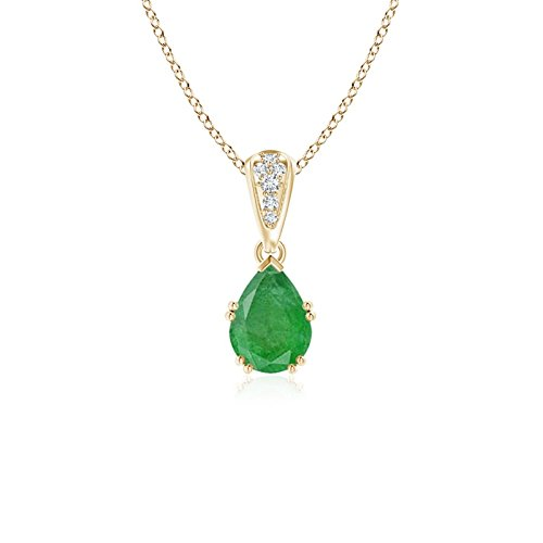 (Vintage Style Pear Emerald Drop Pendant with Diamonds in 14K Yellow Gold (7x5mm Emerald))