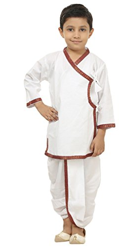 Focil Diwali Special White Dhoti & Kurta Pant Set With Mehroon Border For Kids by FOCIL