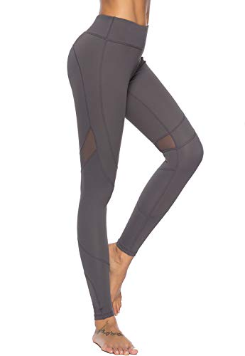 Mint Lilac Women's High Waist Full-Length Leggings Athletic Workout Pants with Mesh Panelss Small Dark Gray