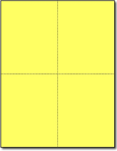 Postcards 4-up Bright Yellow - 250 Sheets / 1000 Postcards by Desktop Publishing Supplies, Inc.